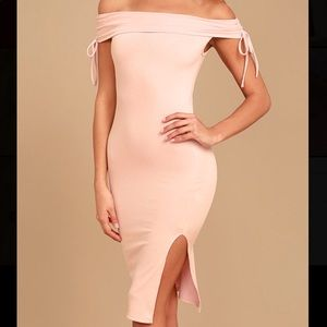 Lulus Pink Off-the-Shoulder Bodycon Midi Dress S